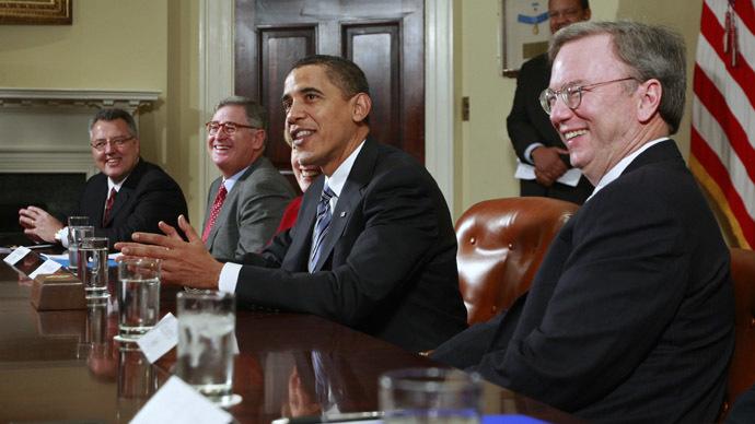 구글 중역들은 일주일에 최소 한 번씩은 백악관에서 모임을 갖는다.