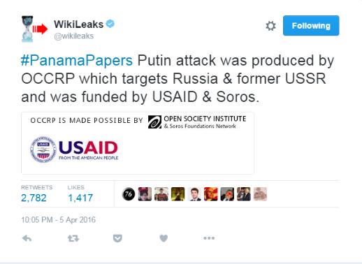 위키리크스, 미국정부와 소로스가 푸틴 공격용으로 파나마 페이퍼를 지원했다.