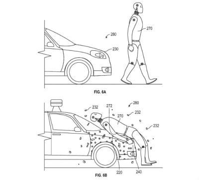 구글 특허는 사고 시 보행자를 자율운전 차에 달라 붙도록 한다.