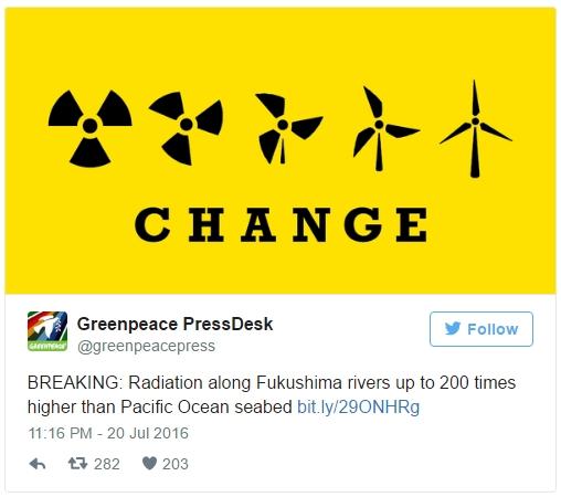 그린피스, '후쿠시마 방사능은 보고된 것보다 수백 배 높다'