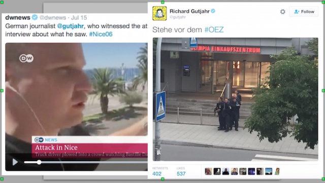 프랑스 니스 트럭 테러 목격자가 독일 뮌헨 쇼핑몰 총격 사건을 목격하다.