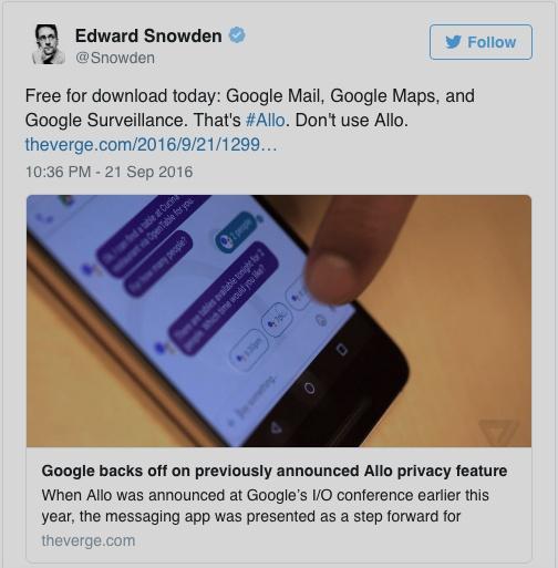 스노든은 구글 알로를 사용하지 말라고 경고한다.