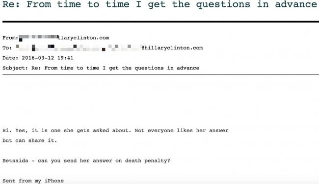 CNN이 주최한 민주당 경선 토론 질문이 미리 힐러리에게 전달되었다.