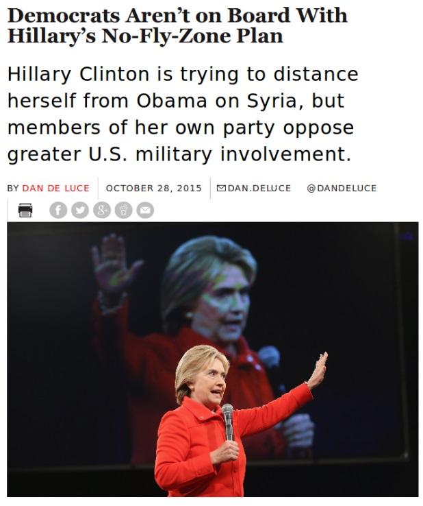 """힐러리, """"생명을 구하기 위해 시리아에 비행 금지 구역을 원한다"""""""