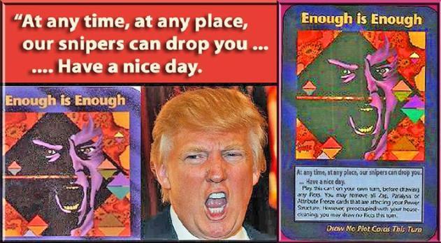 """일루미나티 카드 게임 속 트럼프, """"계속 이대로 둘 순 없다"""""""
