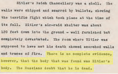 "JFK, ""히틀러의 사체가 발견됐다는 완전한 증거가 없다"""