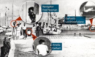1937년에 실종된 에어하트로 보이는 사진이 미 국립문서보관소에서 발견되다.