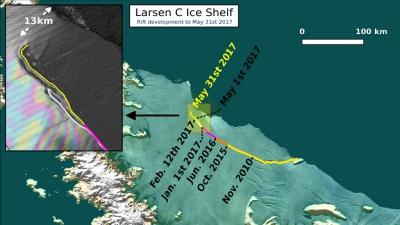 남극의 균열을 보여주는 새로운 위성 사진이 공개되다.