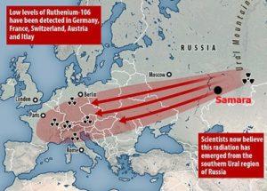 유럽에 발생한 자연 방사능의 986배에 해당하는 방사능 구름