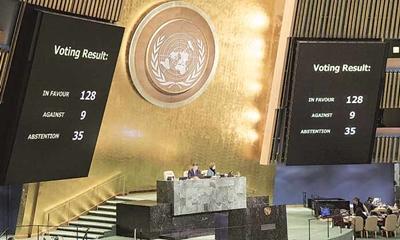 예루살렘의 이스라엘의 수도 인정을 반대하는 결의안을 통과시킨 유엔총회