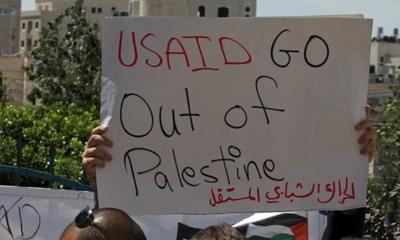 미국은 팔레스타인이 이스라엘과 평화 회담을 가질 때까지 지원을 중단하길 원한다.