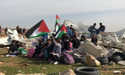 팔레스타인의 학교 시설을 파괴한 이스라엘