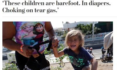 미국 국경을 넘으려던 '캐러밴' 모녀 사진의 조작 논란