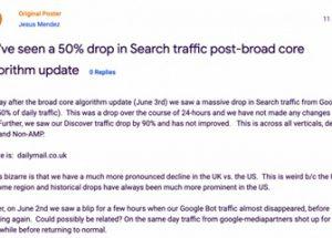 구글 알고리즘 업데이트 후 접속 수가 급감한 영국의 신문사 데일리메일