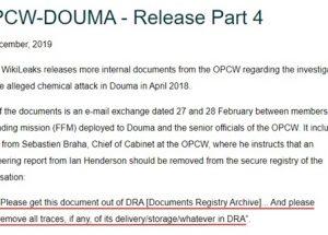 위키리크스, '화학무기금지기구가 시리아 화학무기 공격 관련된 현장 조사 기록 삭제를 지시했다'