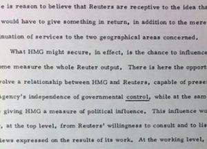 냉전 시대에 영국 정부의 비밀 자금을 BBC를 통해 받고 반소련 선전을 보도한 로이터 통신