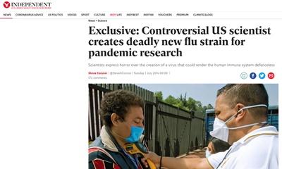 논란이 많은 미국 과학자가 전염병 연구를 위해 새로운 치명적인 감기 바이러스 변종을 만들다