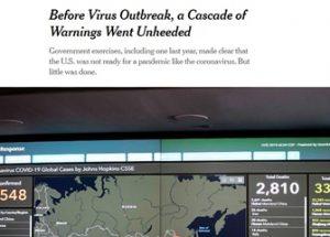 중국발 바이러스가 미국에 옮겨지는 가상 훈련을 작년에 수차례 실시한 미국 정부