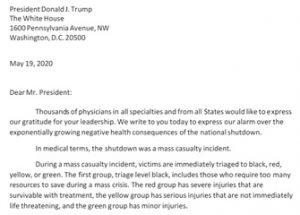 봉쇄로 수백만 명이 사망할 수 있다고 말하는 500명 이상의 미국 의사들