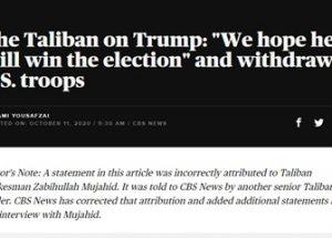 탈레반의 트럼프 재선 지지는 CBS의 가짜 뉴스