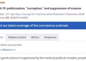 영국의학저널, '코로나19: 과학의 정치화, 부패, 억압'